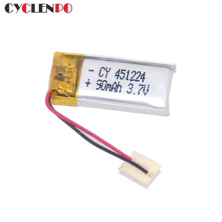 best  3.7 volt lithium battery  90mah lipo battery 451224