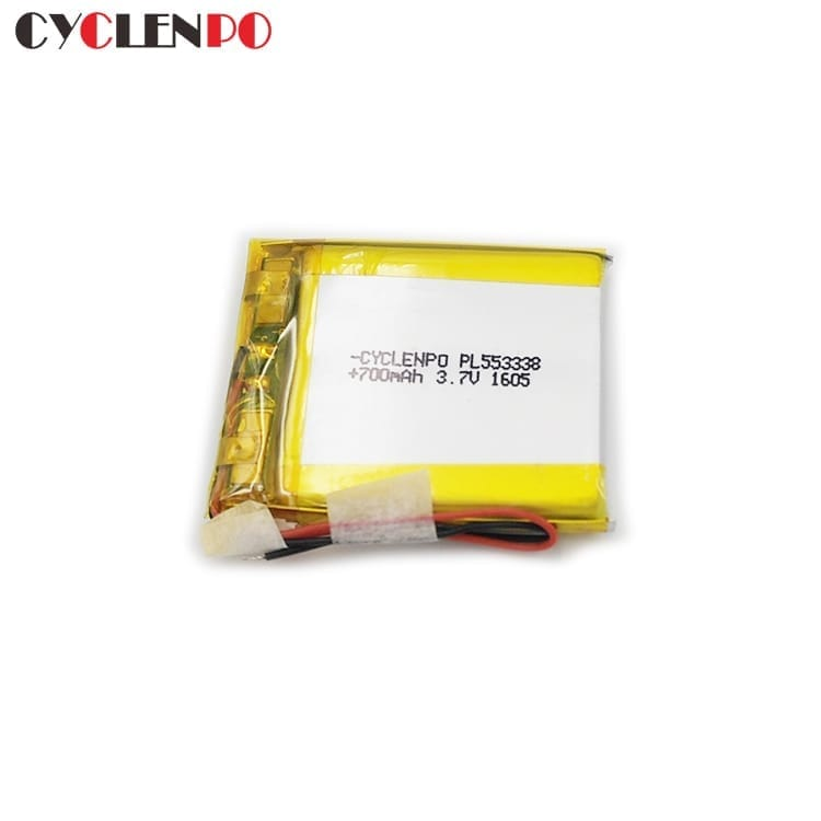 553338  3.7 volt  700mah lithium ion polymer battery