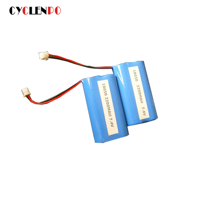 lithium battery 18650 7.4v 2200mah rechargeable battery pack