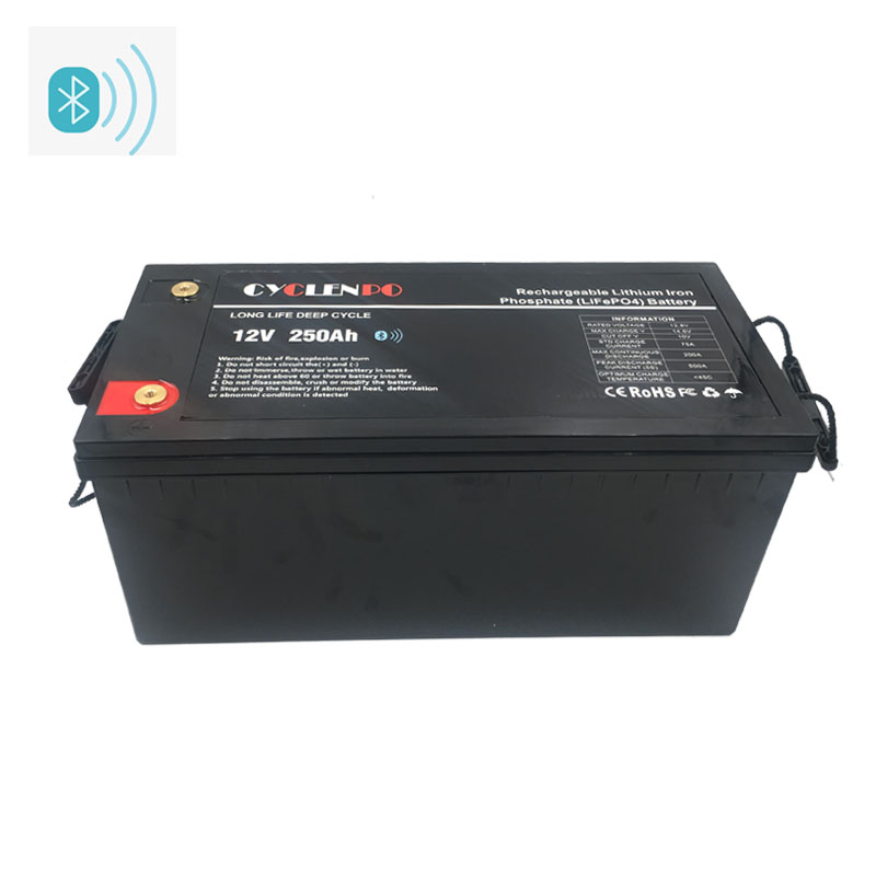 Lifepo4 12v 250ah Battery With Bluetooth APP Controlled Function