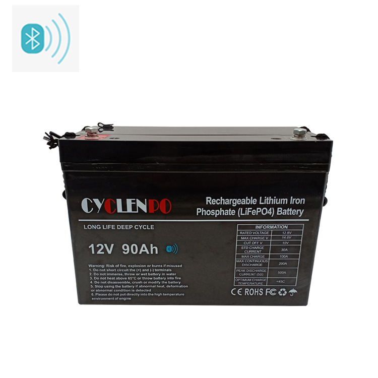 Lithium Ion Lifepo4 Battery 12v 90ah With Bluetooth